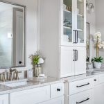Master Shower Cabinets - Aspect Landes Maple Tundra with vanity tower