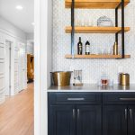 Dry Bar - Aspect Dark Azure Cabinets Lancaster Door & Drawer Style