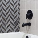 Shower Wall - Shaw Del Ray Chevron Milly Gray & Shaw Baker Street Gloss Warm Gray 3x6 Tile